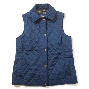 LL Bean XS Quilted Poly Vest Plaid Lining Pockets